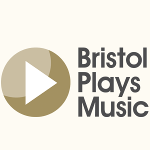 Bristol Plays Music logo, a play button icon left of Bristol Plays Music in grey typeface