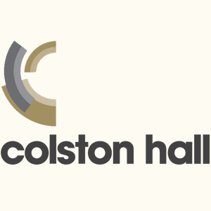 Colston Hall written in grey typeface, brand shapes above