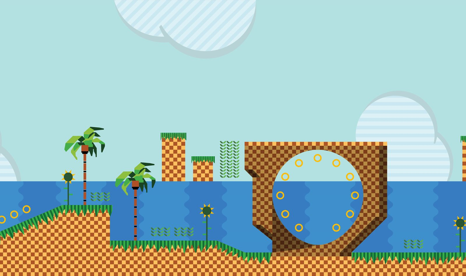 The Play! image is a screenshot of an early 1990s game in bright blocky colours including palm trees and a loop the loop