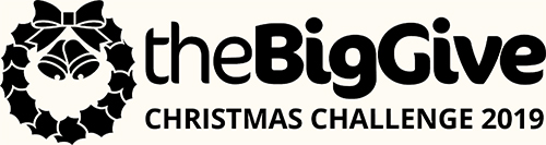 black logo text reads The Big Give christmas challenge 2019 with a holly wreath and bells