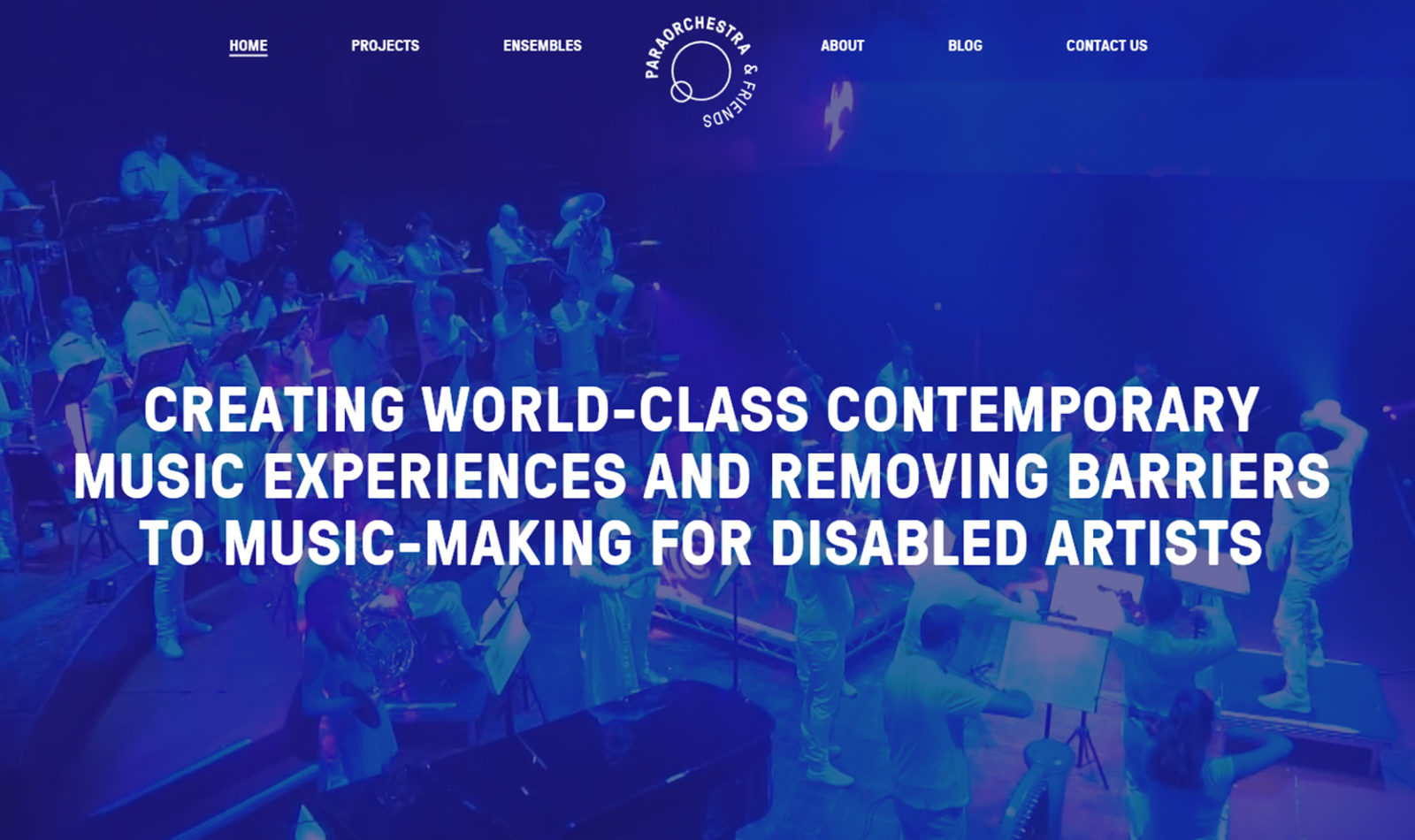 Image is a screenshot of the home page of the Paraorchestra website