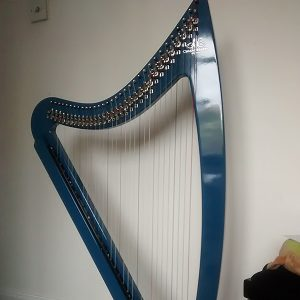 Stephs new harp standing next to the wall in her home