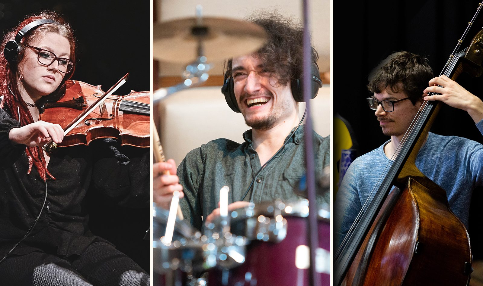 Three photo collage. A caucasian female with red hair play viola, a caucasian man plays drums, laughing, a caucasian man plays cello,