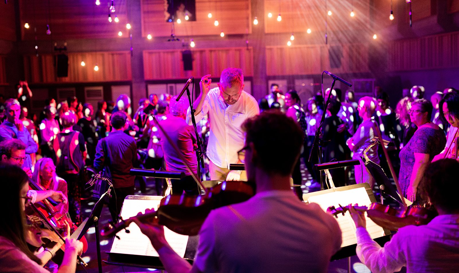Image taken from behind 5 string musicians dressed in white, they play, conducted by Charles Hazlewood in white, head down, hand raised. In the Background an audience on foot are illuminated by twinkling lights and hues of pink and purple.