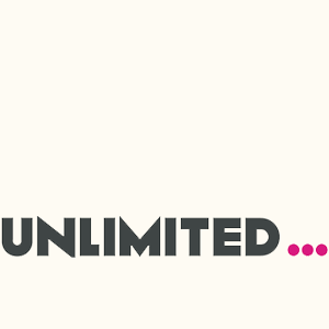 Unlimited in grey typeface with pink ellipses
