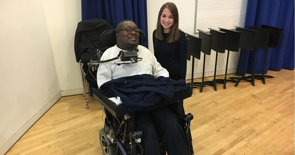 Clarence Adoo (Musician) and Charlotte Harding (Composer) together during a meet up in Newcastle to discuss Kraftwerk re:werk