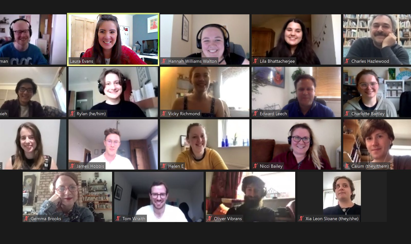 A screenshot of a video call with 19 smiling participants