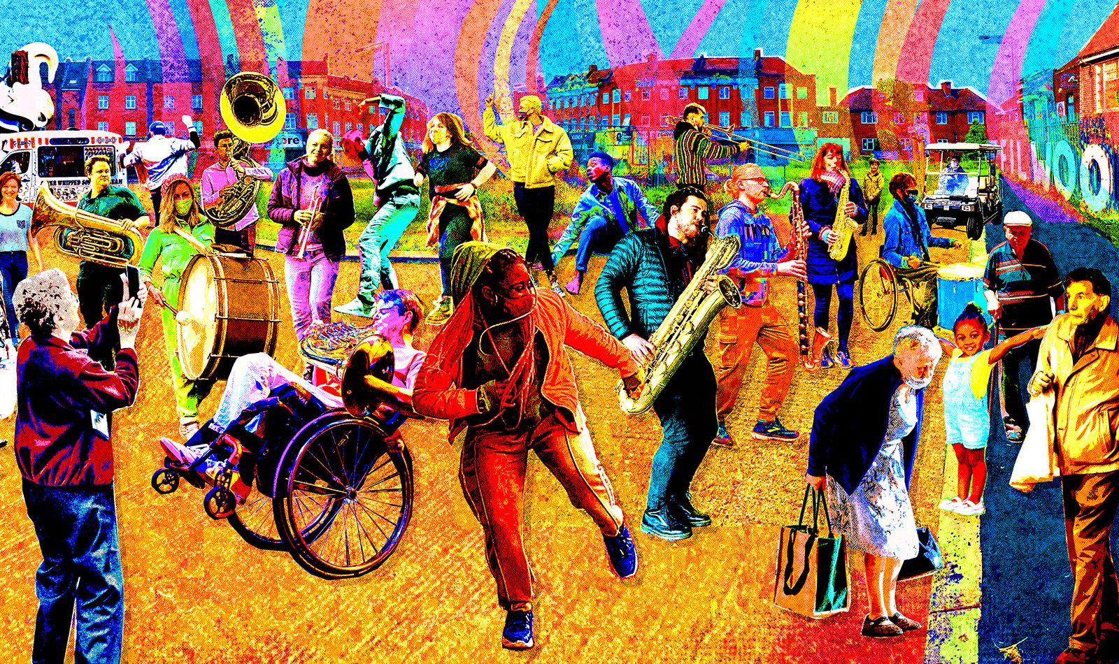 A busy scene made of illustration and photographs of people dancing and playing musical instruments in the street. Bright neon colours