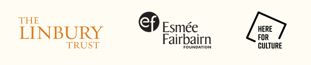 Three logos. The Linbury Trust in a traditional, orange font. Esmee Fairbairn Foundation in black, preceded by EF in a circle. Here for Culture in a black square partially rotated.